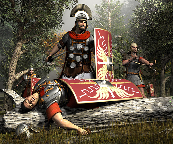 Roman Legionaires attacked in the ancient forest