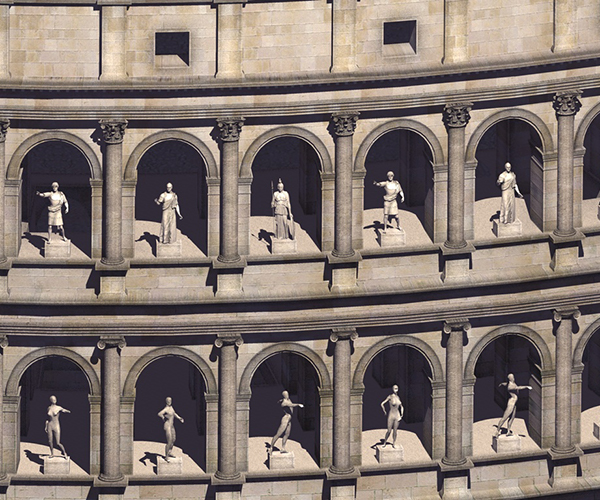 Closeup of the Coliseum Statues